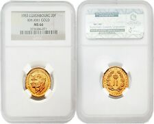 Luxembourg 1953 Royal Marriage KM-XM1 20 Francs Gold NGC MS66