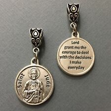 Saint Jude Patron Impossible Causes Difficulties Medal Pendant Silver Tone 3/4""