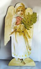 "Vintage Angel with Pine Tree large 33""  Wood Diecut Standup Display Christmas"