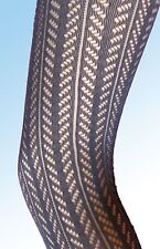Black Stretchy Lace Tights 8-12 vertical lines pattern. NEW neutral footless
