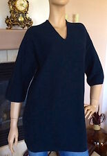 UNIQLO AND LEMAIRE WOMEN NAVY SUPIMA COTTON 3/4 SLEEVES V NECK TUNIC NWT SIZE S