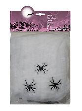 Spinnenweben 20g mit drei Spinnen NEU - Partyartikel Dekoration Karneval Faschin