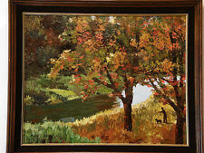Autumn Landscape WALKING DOG BY THE RIVER Marie Davis Vintage Thick Oil Painting