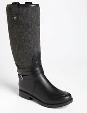 UGG Australia 'Korynne' Black Rubber/ Gray Wool Waterproof Rain Boots sz: 5