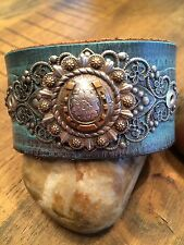 Horse Shoe western Leather cuff: handmade from recycled belts