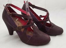 "ESSKA LADIES DEEP PURPLE WITH SUEDE DETAIL 3"" CONE HEEL STRAPPY SHOE UK SIZE 4 E"