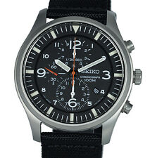 SEIKO MEN SNDA57P1 Black Dial Chronograph Black Nylon Band