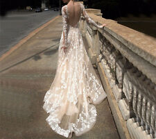 New Champagne Wedding Dresses Beading Long Sleeve Backless Applique Bridal Gown