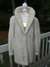 STUNNING WOMEN'S GENUINE CREAM WHITE MINK FUR COAT JACKET