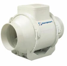 "Monsoon UMD100T 4"" In Line Mixed Flow Extractor Fan with Timer"