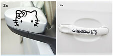 (2x Rearview Mirror+4x Cursive Door Handle) black hello kitty Car Decal Sticker