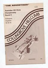 1972 Collingrove Hill Climb Programme Touring Racing Sports Vintage Production c