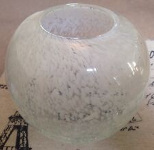 Crackle White Coloured Speckle Glass Vase Candle Holder Globe Orb New