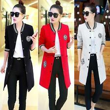 Korean Women Slim Long Baseball Jacket Coat College Casual Sweater Sport Outwear