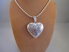 "UK Jewellery Silver Heart Photo Locket Pendant + 18""  Ball Bead Necklace Chain"