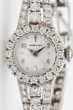 Vintage $10,000 4ct VS H Diamond HAMILTON Ladies Platinum Watch 24g WARRANTY