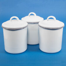 Set of 3 Vintage Kitchen White Enamel Tea Coffee Sugar Storage Canisters Jars