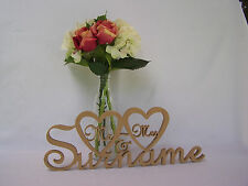 Wedding Mr & Mrs surname custom MDF Wooden Letters gift, wood sign names words
