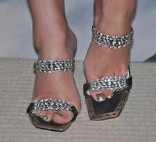 "CELEBRITY VERY STYLISH BLACK SANDALS ""UNZE"" , DECORATED BIG CRYSTALS 4 SIZE"