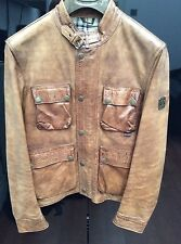BELSTAFF RARE BRAD BLOUSON LEATHER BIKER COAT JACKET DESIGNER BROWN