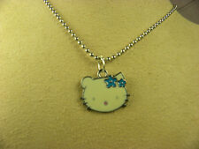 SWEET HELLO KITTY IN HEAD VIEW W/ BLUE STARS METAL CHARM NECKLACE W/ BEAD CHAIN