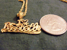 bling gold plated baseball words pendant charm rope chain hip hop necklace ball