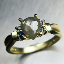 0.97ct Black Ice Diamond Pear Rose Cut &sapphire 9ct 375 yellow gold ring