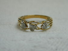 9ct Yellow Gold Diamond Set Leaf & Stem Ring size M