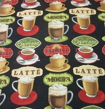 """Coffee Moments Large Cups on Black Quilt Fabric Coffee Novelty  17"""" remnant #RX"""