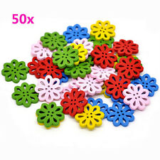 50pcs Fancy Wood Flower DIY Craft Buttons Scrapbook Sewing Buttons Mixed Colors