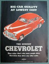 THE NEWEST CHEVROLET Original 1947 Car Ad Big Car Quality at Lowest Price