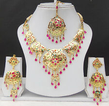 ROYAL SOUTH INDIAN JEWELRY SET GOLD PLATED BRIDAL KUNDAN NECKLACE EARRINGS TIKKA