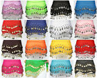 3 Rows Belly Dancing Dancer Hip Belt Skirt Wrap Scarf Costume Gold Silver Coins