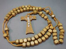 Rosary Necklace Square LATTE BROWN Bead Wood Cross Silver Jesus Classic! Gift!