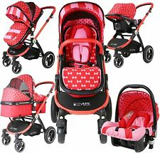 i-Safe System - Bow Dots Trio Travel System Pram & Luxury Stroller 3 in 1 Comple