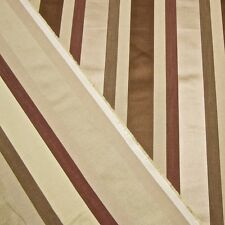SWATCH: Grosgrain+Satin Stripe Designer Decorator Fabric in Beige/Mocha/Berry