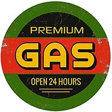 Premium Gas Open 24 Hours large, round steel sign  300mm diameter (og)