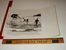 Rare Historical Original VTG WWII British Wade Ashore from Craft Sicily Photo