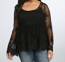 New Plus Size Torrid Sheer Black Embellished Mesh Top in Size 4 4X