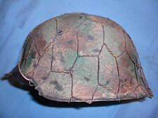 German WWII M42 Repro Helmet w/ Custom Camo & Wire - Size 66 Shell, 59 Liner