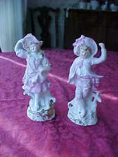 Charming signed German bisque French boy and girl figurines