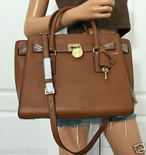 Michael Kors Hamilton Traveler Large Leather Shoulder Handbag Bag Purse Brown