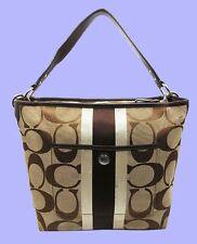 COACH 10055 HAMPTONS WEEKEND Signature Stripe Shoulder Bag Msrp $228 *FREE S/H*