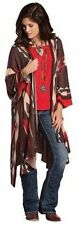 Poncho Western Southwest Shawl Long Women Cowgirl Capes Brown Ruana Open Front