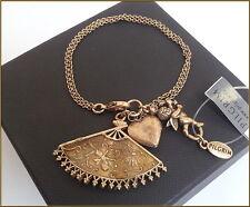 BNWT PILGRIM JEWELRY SWAROVSKI CRYSTALS ENAMEL 16K GOLD CHARM HEART BRACELET