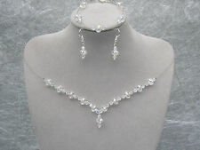 a77 Crystal Necklace Bracelet Earring Jewelry Set Bridesmaid Wedding Bridal Prom