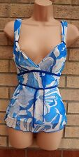 JANE NORMAN BLUE WHITE MESH V NECK BELTED LYCRA SUMMER BUTTERFLY TOP BLOUSE 8 S