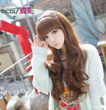 Sexy Fashion Women Long Curly Wavy Hair Bright Brown Wig Daily Party Wear