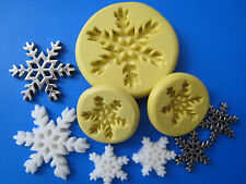 "Snowflake silicone molds, 3 set, great on ""Frozen"" theme cakes, fondant  #307-A"