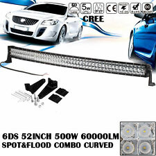 "6D+ 52""INCH 500W Curved CREE LED Work Light Bar Flood Spot Combo Truck 50"" VS 7D"